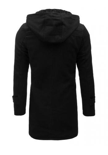 Dlouhý pánský kabát černé barvy s odepínací kapucí