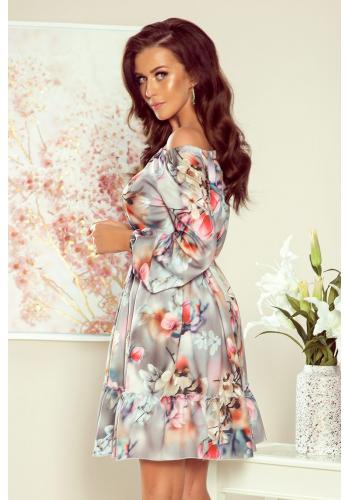 Šedé květované šaty s volány pro dámy