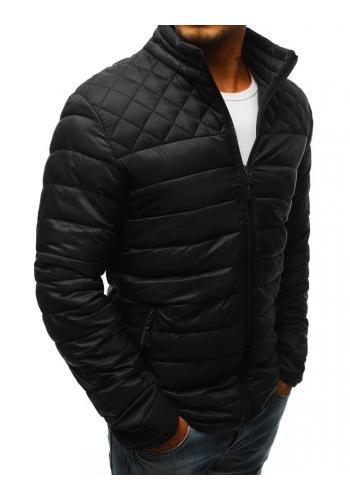 Černá prošívaná bunda bez kapuce pro pány