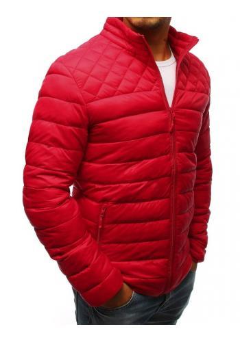 Prošívaná pánská bunda červené barvy bez kapuce