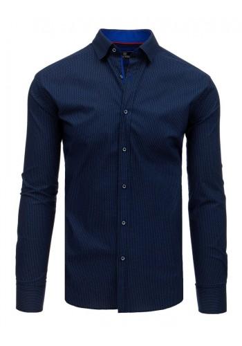 Pánská stylová košile se vzorem v tmavě modré barvě