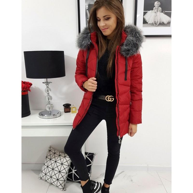 Červená prošívaná bunda s kapucí pro dámy