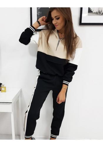 Tepláková dámská souprava černo-béžové barvy s kapucí
