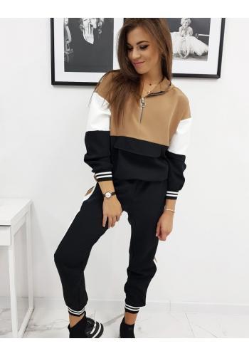 Tepláková dámská souprava černo-hnědé barvy s kapucí