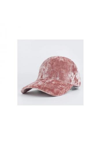 Sametová dámská kšiltovka růžové barvy