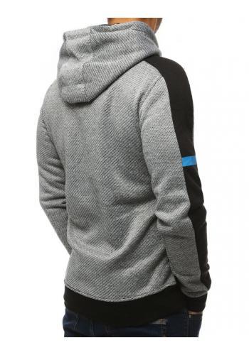 Pánské sportovní mikiny s kapucí v světle šedé barvě