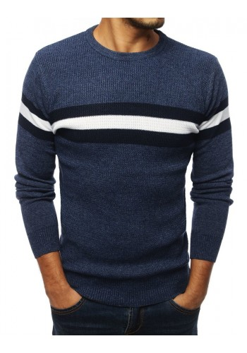 Klasický pánský svetr tmavě modré barvy s kontrastními pásy