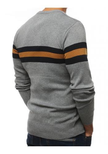 Světle šedý klasický svetr s kontrastními pásy pro pány