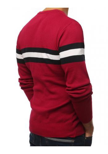 Pánský klasický svetr s kontrastními pásy v bordové barvě