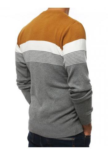 Šedý stylový svetr s kontrastními pásy pro pány