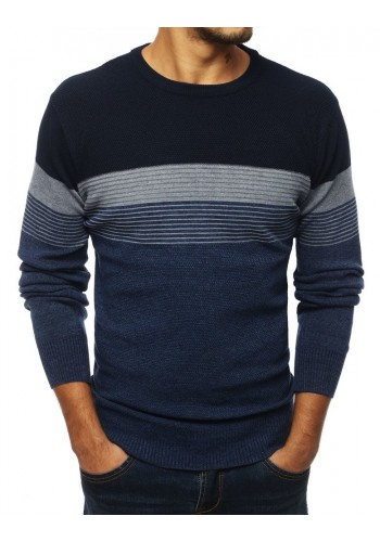 Pánský stylový svetr s kontrastními pásy v tmavě modré barvě