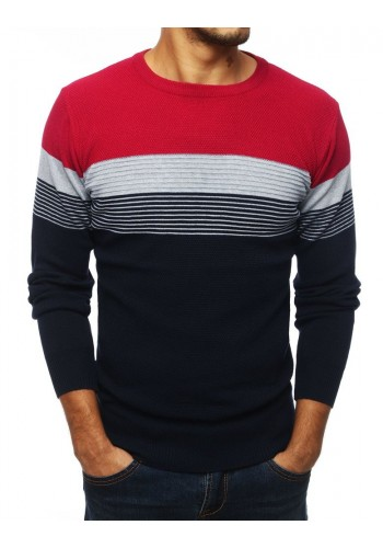 Modro-bordový stylový svetr s kontrastními pásy pro pány