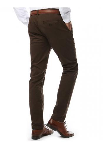 Elegantní pánské kalhoty chinos hnědé barvy
