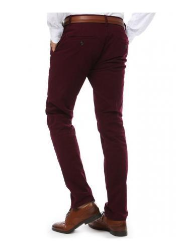 Pánské elegantní kalhoty chinos v bordové barvě