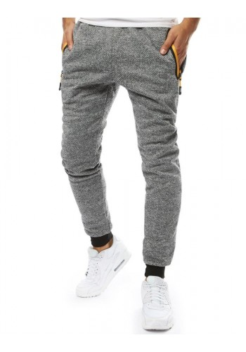Pánské módní tepláky v tmavě šedé barvě