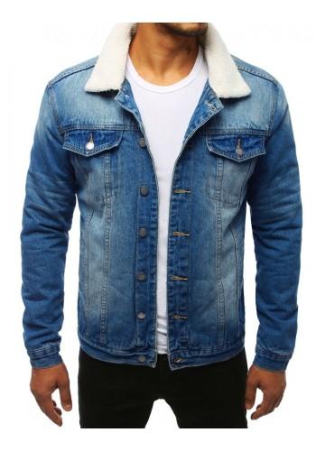 Pánská riflová bunda s kožešinou v modré barvě