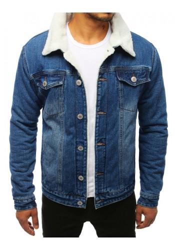 Riflová pánská bunda modré barvy s kožešinou
