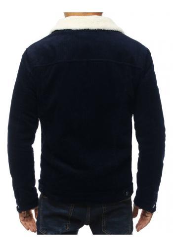 Tmavě modrá přechodná bunda s kožešinou pro pány