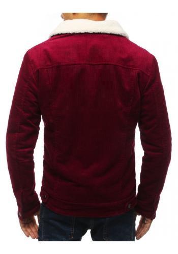 Přechodná pánská bunda bordové barvy s kožešinou