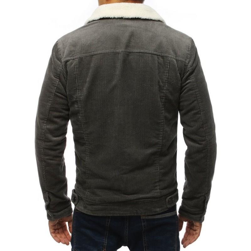 Pánská přechodná bunda s kožešinou v tmavě šedé barvě
