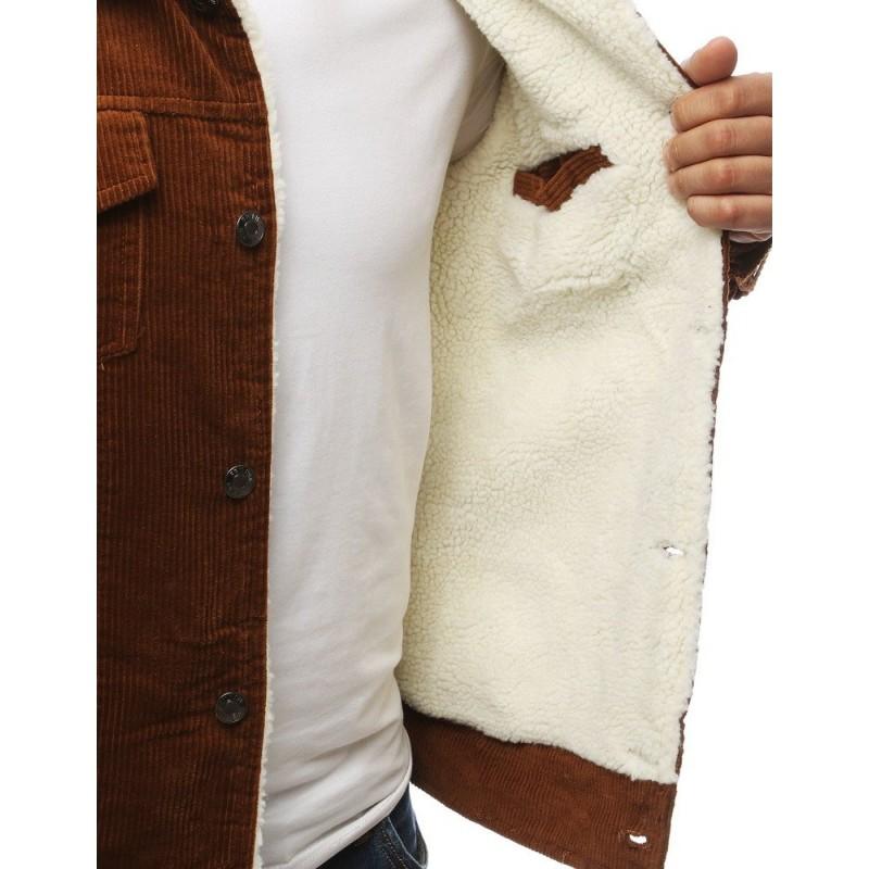 Hnědá přechodná bunda s kožešinou pro pány