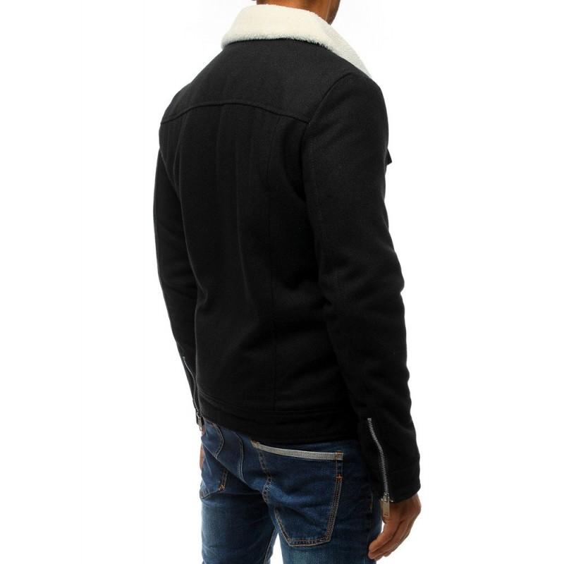 Vlněná pánská bunda černé barvy s kožešinou