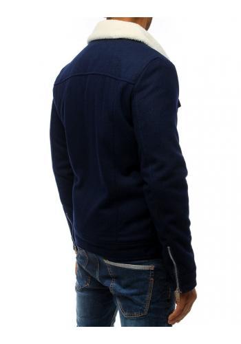 Pánské vlněné bundy s kožešinou v tmavě modré barvě