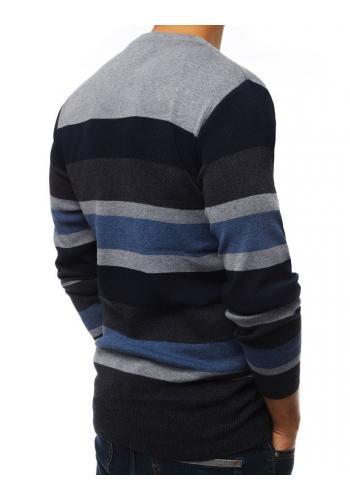Pánský proužkovaný svetr s kulatým výstřihem ve světle šedé barvě