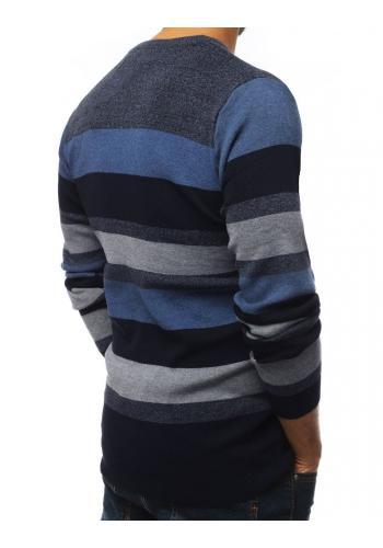 Proužkovaný pánský svetr tmavě modré barvy s kulatým výstřihem