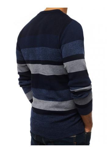 Tmavě modrý proužkovaný svetr s kulatým výstřihem pro pány