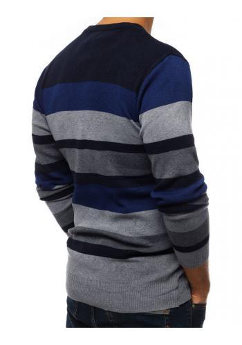 Pánské proužkované svetry s kulatým výstřihem v tmavě modré barvě