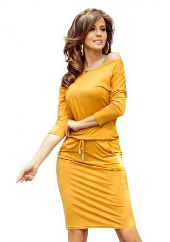 Žluté sportovní šaty s vázáním pro dámy