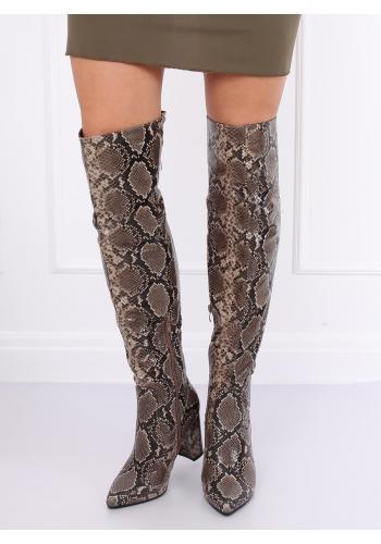 Dámské kozačky nad kolena s motivem hadí kůže