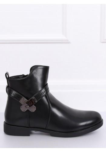 Stylové dámské boty černé barvy s ozdobou