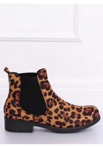 Hnědé módní polobotky s leopardím motivem pro dámy