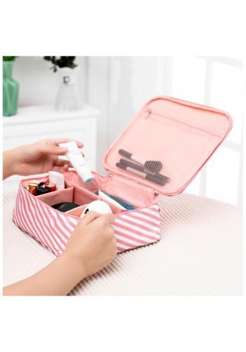 Dámská kosmetická taška s proužky v růžovo-bílé barvě