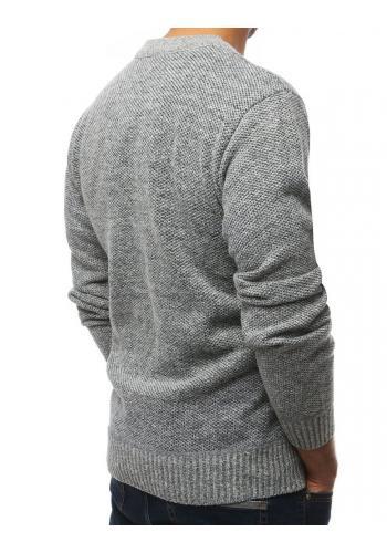 Pánský oteplený svetr v světle šedé barvě