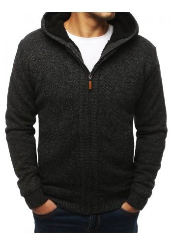Pánský teplý svetr s kapucí v tmavě šedé barvě