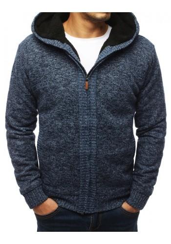 Teplý pánský svetr modré barvy s kapucí