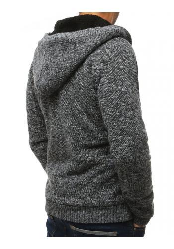 Černý teplý svetr s kapucí pro pány