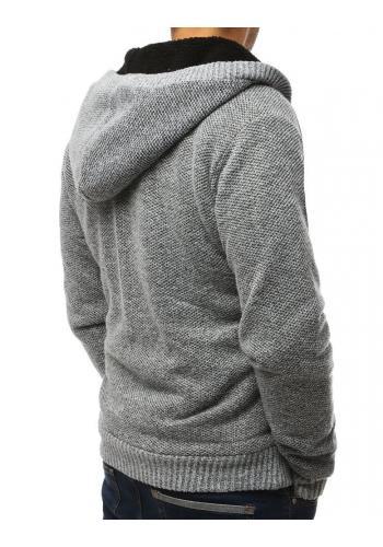 Pánské teplé svetry s kapucí v světle šedé barvě