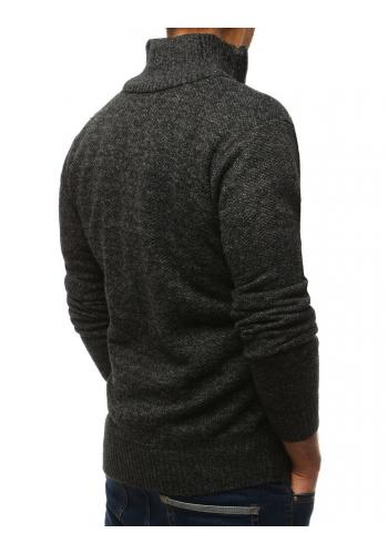 Oteplený pánský svetr tmavě šedé barvy s vysokým límcem