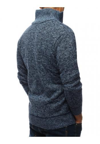 Modrý oteplený svetr s vysokým límcem pro pány