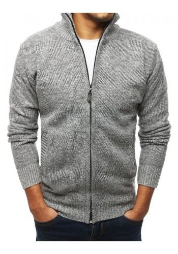 Pánský oteplený svetr s vysokým límcem v světle šedé barvě