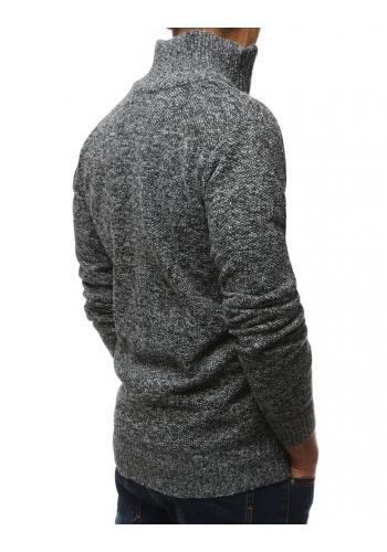 Oteplený pánský svetr černé barvy s vysokým límcem