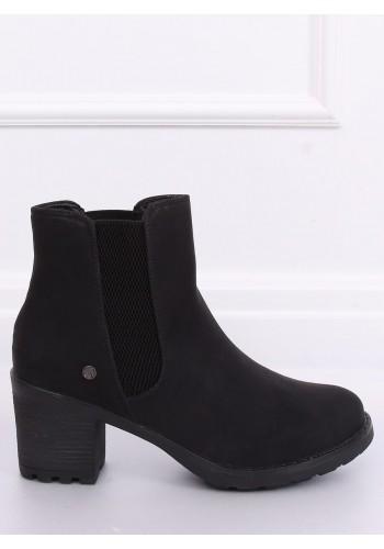 Černé módní boty na stabilním podpatku pro dámy