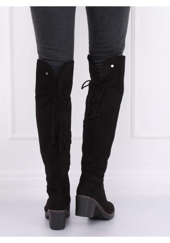 Semišové dámské kozačky nad kolena černé barvy na gumovém podpatku