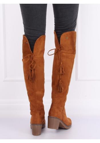 Dámské semišové kozačky nad kolena na gumovém podpatku v hnědé barvě