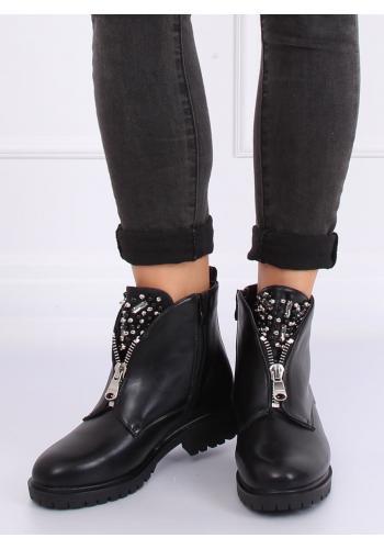 Černé stylové boty se zdobeným jazykem pro dámy