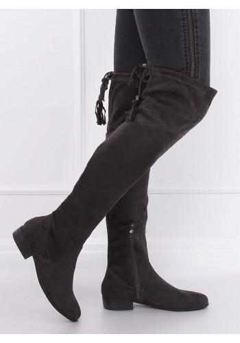 Semišové dámské kozačky nad kolena tmavě šedé barvy s třásněmi